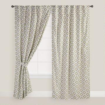Blue and Green Shadow Flower Curtains, Set of 2